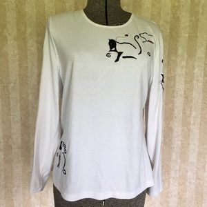 Allison Daley Embroidered Cat Top